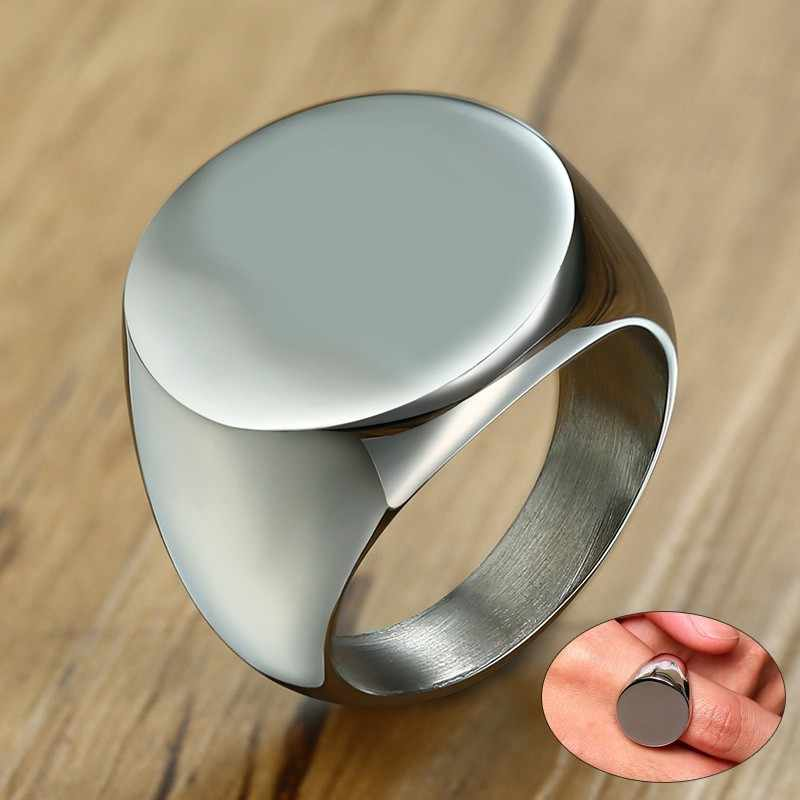 Индивидуальный заказ Гравировка Мужская перстень полированный нержавеющая сталь кольца для мужчин джентльменов Анель подарок