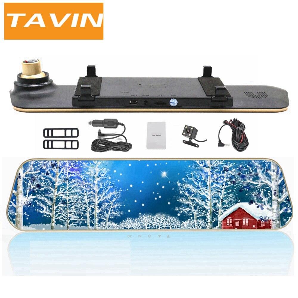 TAVIN Dash cam Dual lens Rearview mirror Car camera recorder Full hd 1080P mirror DVR auto 4.3 inch video Night Vision Car dvrs