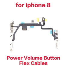 1Piece power On Off Volume Mute Control Flex Cable with Microphone Flash Len For iPhone 8 M