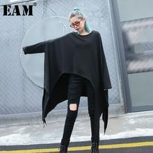 [EAM] 2020 새로운 봄 가을 라운드 넥 긴 소매 블랙 느슨한 불규칙한 컷 밑단 대형 t 셔츠 여성 패션 조수 JH790
