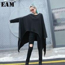 [Eam] 2020春の新作秋ラウンドネック長袖黒不規則なカット裾大サイズtシャツ女性ファッション潮JH790
