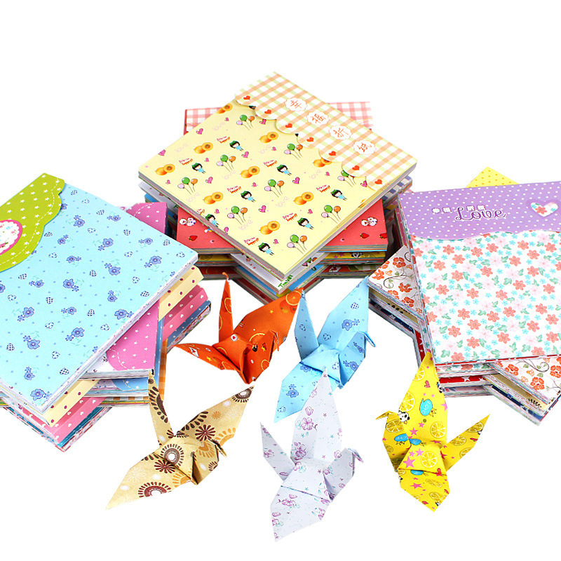 Купить с кэшбэком 15x15cm 72Pcs/lot Colorful Craft DIY Paper Rectangle Handmade Art Decorative Tools Papers Books Ad Card Box Party Wedding Decors