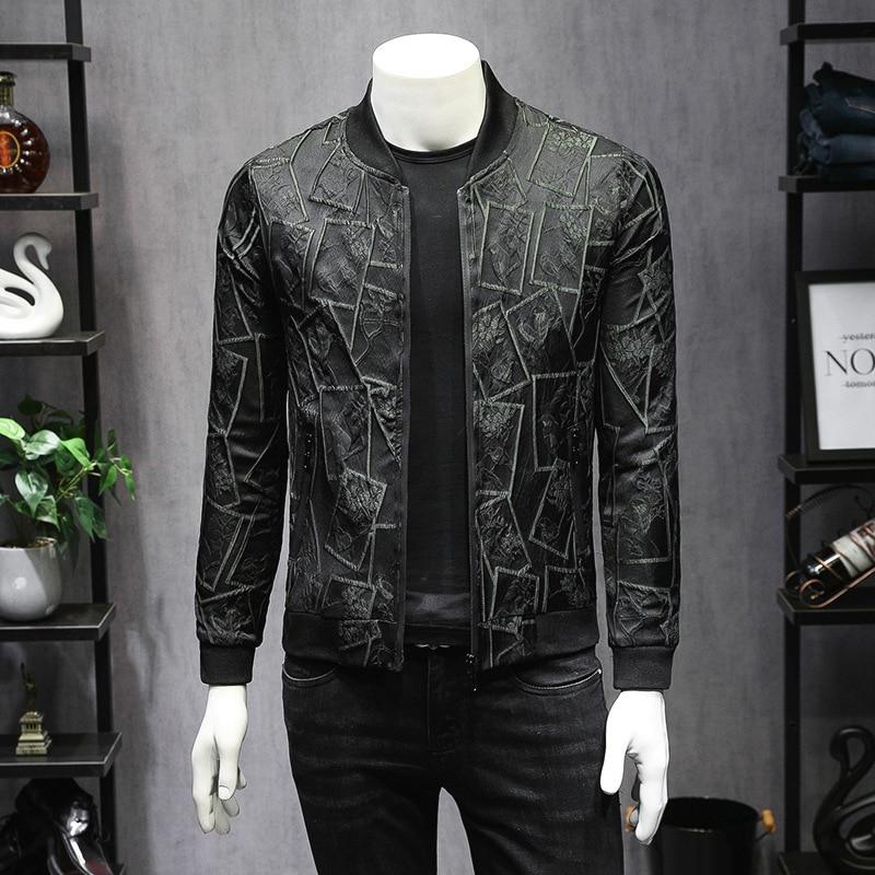 Print Black Green Jacket Men Fashion Slim Fit Casual 2019 Spring Autumn Baseball Jackets Mens Bomber 5xl