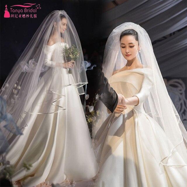 Ivory Satin Wedding Dresses 2019 Simple Elegant Spring Summer Bridal Gowns  Vintage Matte Satin vestido de novia Real PIC ZW107 8ce0d9421332