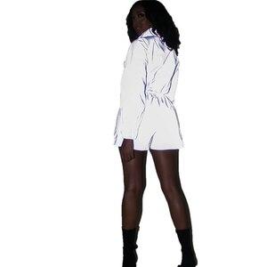 Image 4 - Hip Pop Streetwear 2Pcs Women Fashion Reflective Outfits Crop Tops Pants Sets Clothes Jumpsuit Playsuit 2 styles Night Club Wear