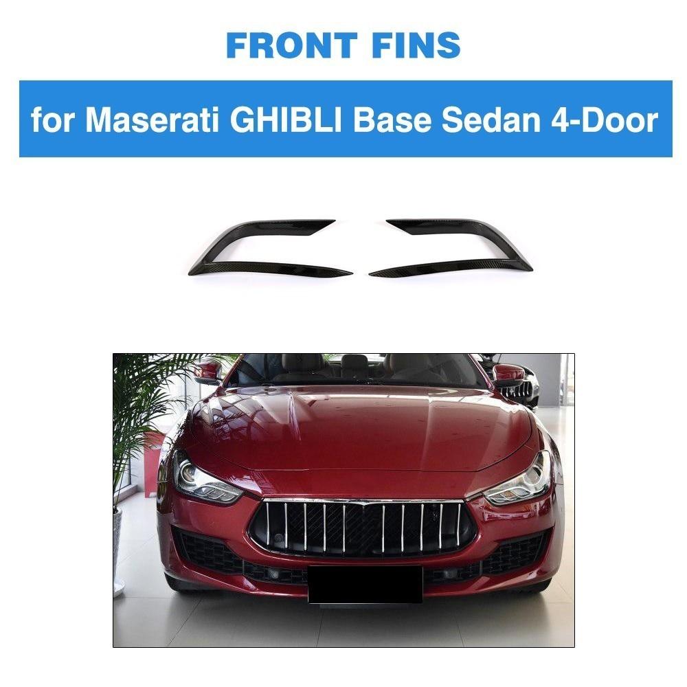 2pcs Fins For Maserati Ghibli 2018 Base Sedan 4 Door Front Bumnper Carbon Fiber Bumper parts Accessoreis Bodykit