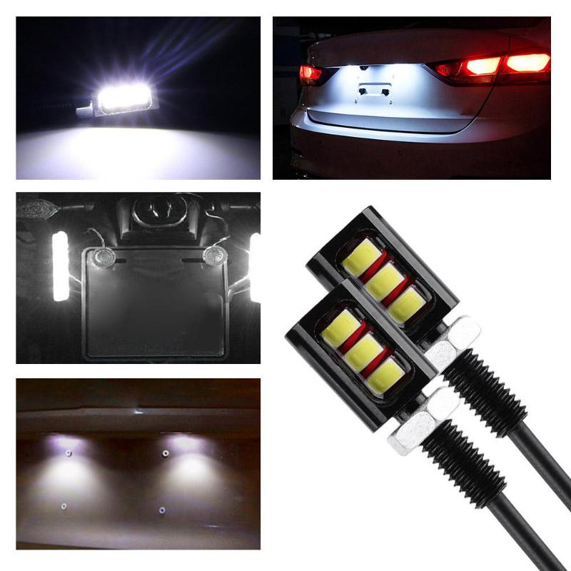 1 Pair 12V 3W Screw Bolt White 5730 SMD 3 LED Lights Car Motorcycle Number License Plate Lamp Moto Auto Car Accessories
