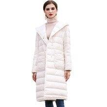 Down Jackets Women Frivolous Fashion Loose Long Coat Elegant Office Winter Clothes Warm White Duck Hooded Outerwear HJ60