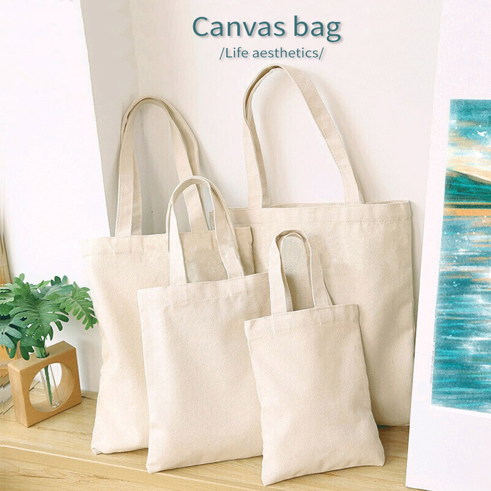 White Canvas Shopping Bags Eco Reusable Foldable Shoulder Bag Large Handbag Fabric Cotton Tote Bag For Women Shopping Bags