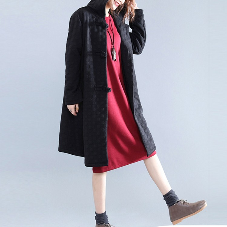 Women Button Vintage Trench Autumn Winter Long Sleeve Hooded Outerwear Warm Thin Black Coats