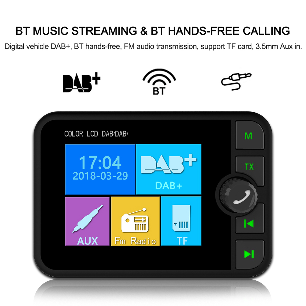2 4 LCD Display MP3 Player Car DAB Digital Radio Adapter FM Transmitter Bluetooth Music AUX
