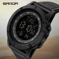 SANDA männer Sport Uhren 3ATM Wasserdicht Mode S Shock Digitale Uhren Countdown Leucht Männlichen Uhr Chronograph Armbanduhr