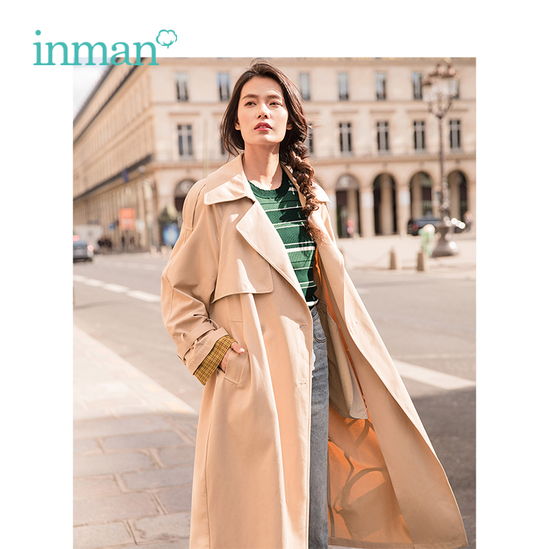 INMAN 2019 Spring New Arrival Turndown Collar Include Belt Defined waist Loose Casual Korean Women Long
