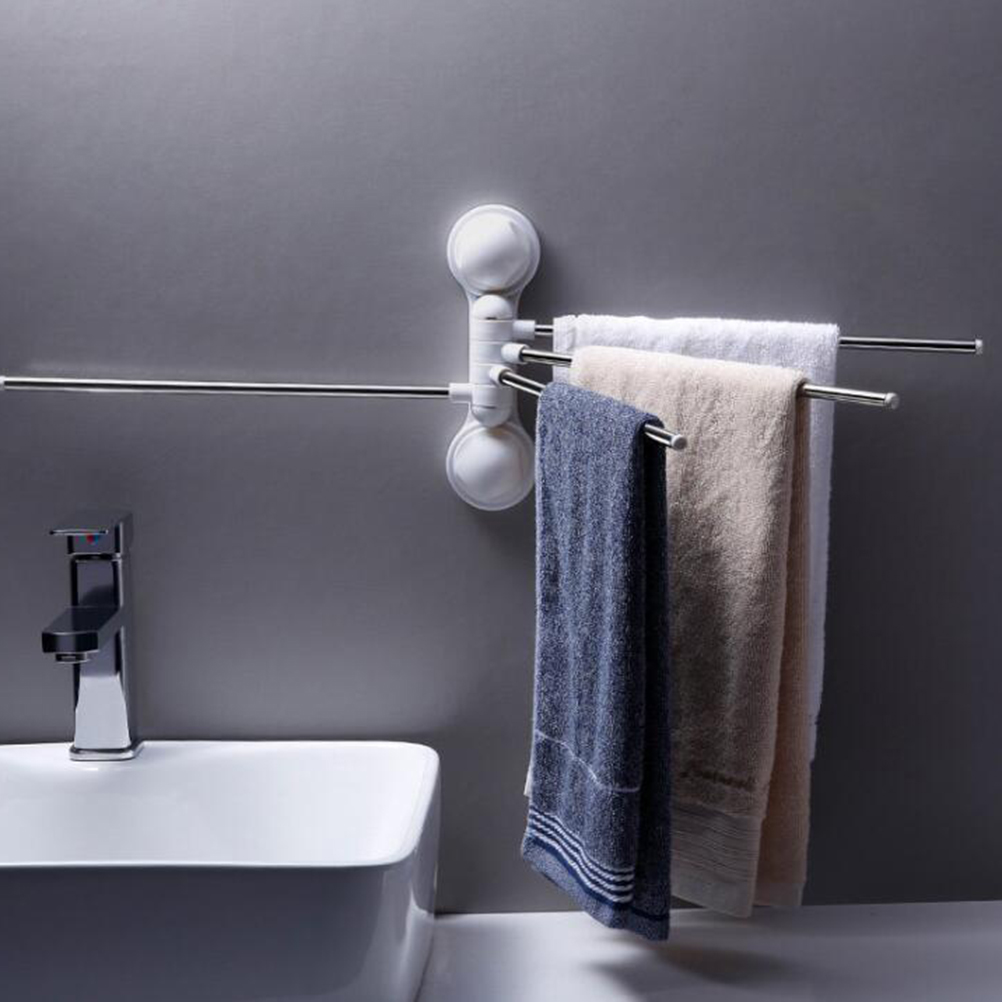1Pc Bath Towel Rack Wall Mounted Space Saving Stainless Steel 180 Degree Swivel Towel Holder for Kitchen