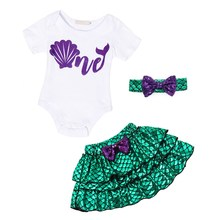 AmzBarley Princess Ariel Costume Baby Girls clothes set Newborn Halloween Birthday Party outfits Romper Sequin Dress+ headband