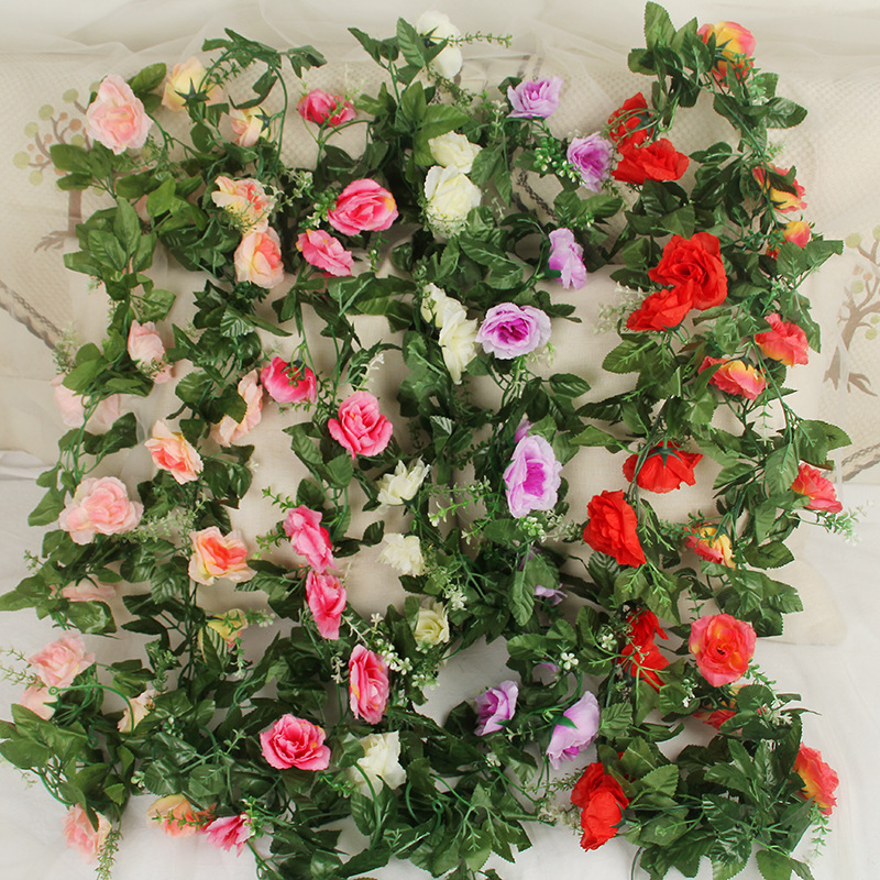 Ten Rose Leaf Vines Imitate Flowers and Fake Plants Decorative Wedding Soft Clothes Photography