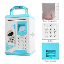 Piggy Bank Money Box Cash Coin Electronic Fingerprint ATM Password Coin Money Saving Box Jar Storage Box For Kids Birthday Gift