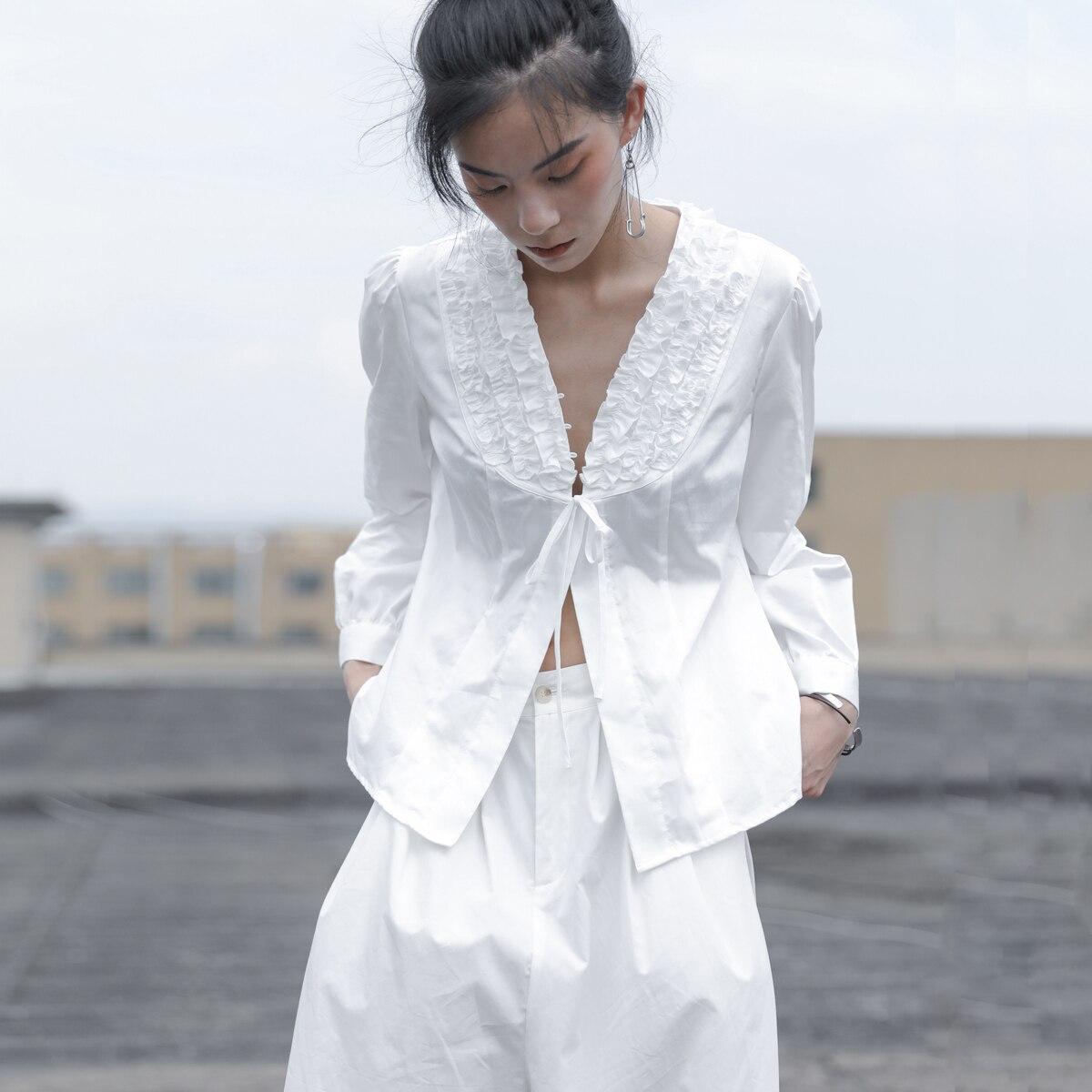 SHENGPALAE 2019 New Spring V Collar Long Sleeve Black Stitching Lace Korean Fashion Loose Vintage Women