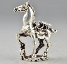 Tibet Silver Chinese Old Collectable Handwork Carving Horse Statue Decor(China)