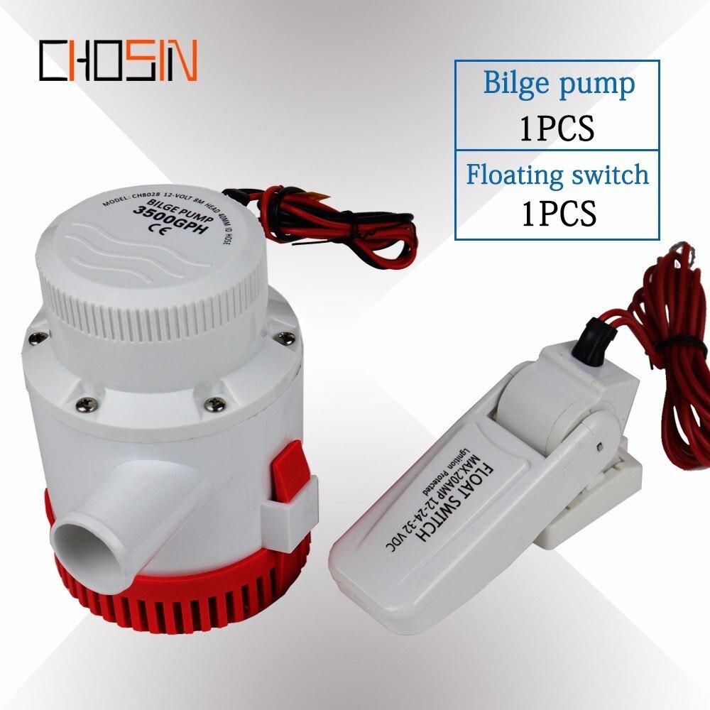 3000GPH grand débit Dc 12 v 24 v pompe de cale avec interrupteur à flotteur de cale pompe à eau électrique pour bateaux Submersible 12 24 volts 3000 Gph