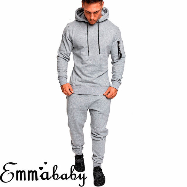 Free Size Matching Men Clothes 2018 Autumn 2 Piece Set Men Tracksuit Hoodies Sweatsuit Set Slim Casual Streetwear Fashion