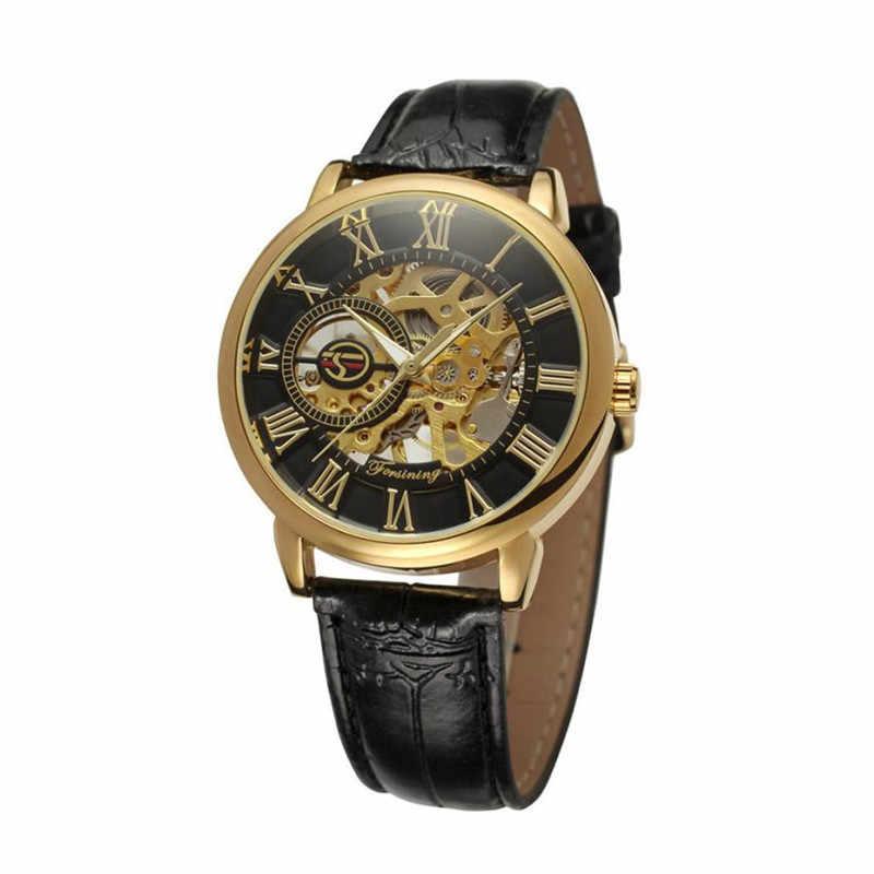 رائعة بسيطة الرجال الساعات الفاخرة موضة الأرقام الرومانية الهيكل العظمي الهاتفي الميكانيكية ساعة ساعة رجالي ثلاثية الأبعاد الجوف Zegarek ميسكي