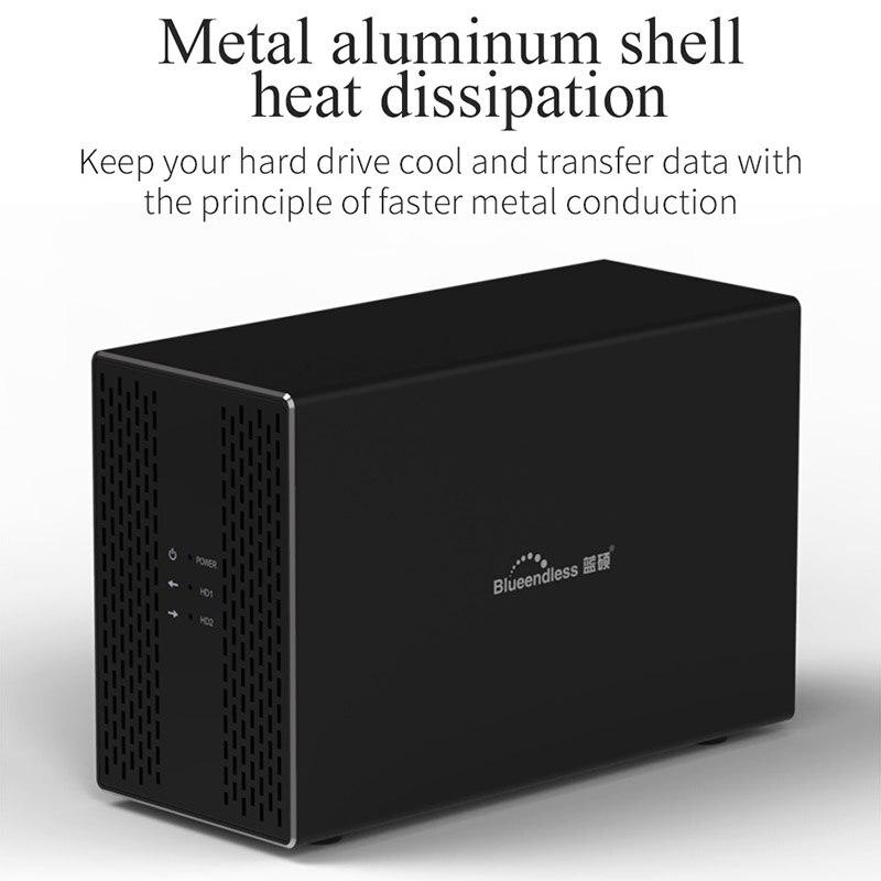 Bluedendless 3,5 pulgadas de disco duro Array Raid Dual Bay Hdd Raid de datos de apoyo 2X10Tb Drive enchufe de la UE - 2