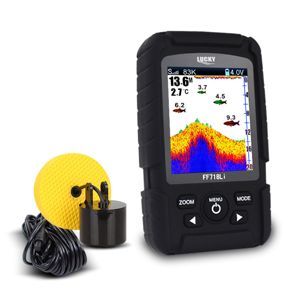LUCKY FF718LiCD 2.8 Color LCD Portable Fish Finder 200KHz Dual Sonar Transducer Frequency 328ft/100m Detection Depth FinderLUCKY FF718LiCD 2.8 Color LCD Portable Fish Finder 200KHz Dual Sonar Transducer Frequency 328ft/100m Detection Depth Finder