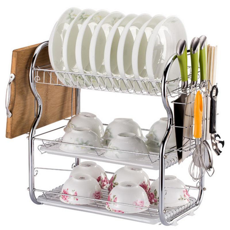 2 Tier Chrome Dish Drainer Kitchen Storage Organizer Plates Cutlery Rack Holder