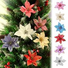 15 см имитация на Рождество цветок для свадебной вечеринки Рождественская гирлянда украшение многоцветный пластик липкий порошок цветок