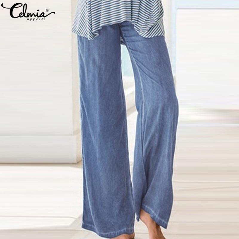 Celmia Women High Waist   Pants   2019 Fashion Long Trouser Female Casual Denim Blue   Wide     Leg     Pant   Work Pantalon Palazzo Plus Size