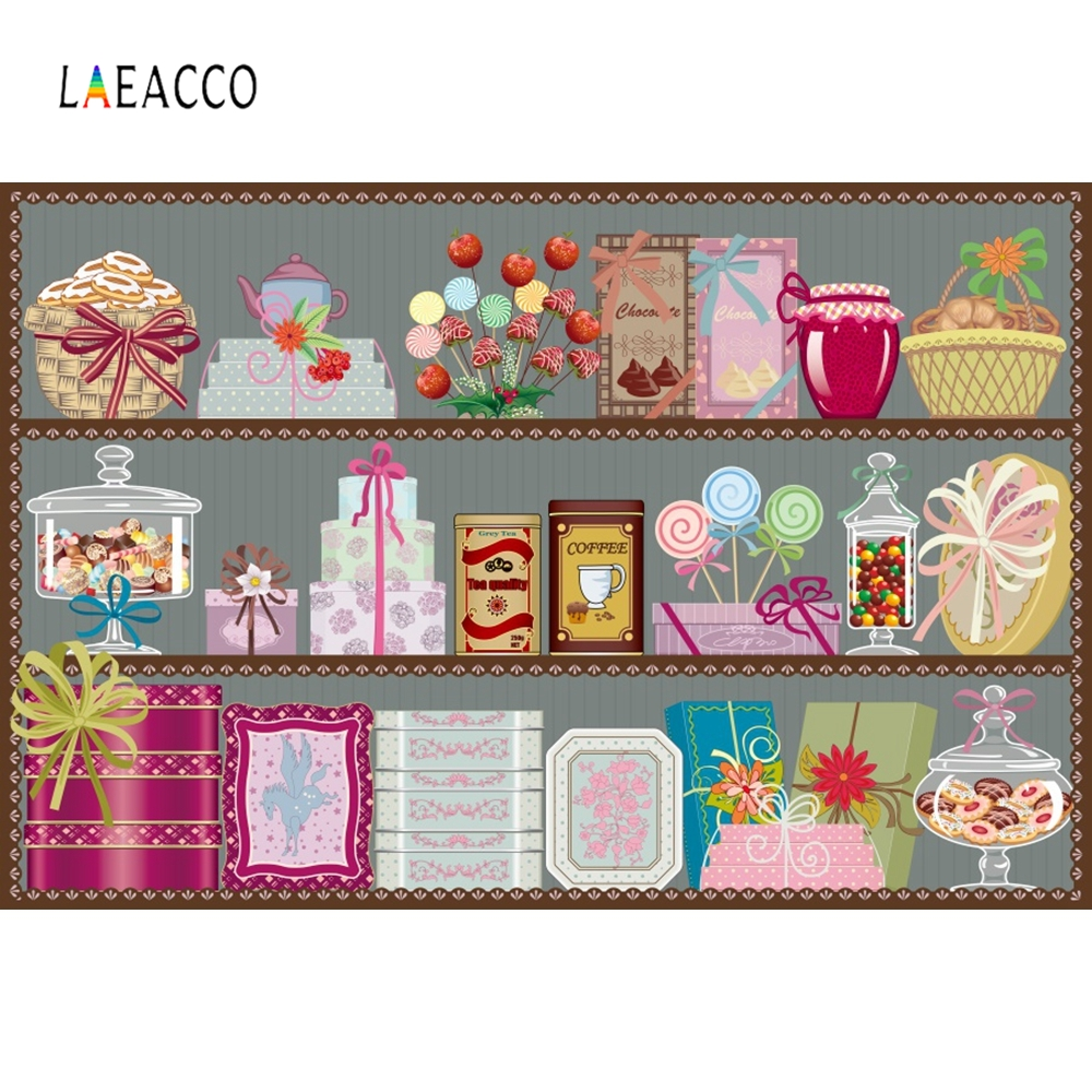 Laeacco Cartoon Cupboard Baby Candy Cake Backdrop Photography Backgrounds Customized Photographic Backdrops For Photo Studio