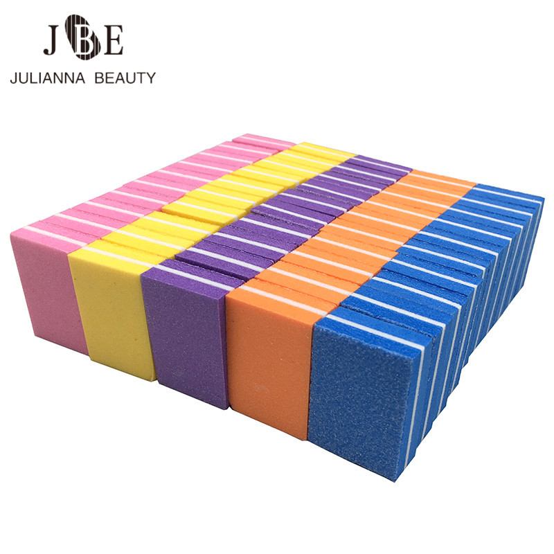 50pcs/lot Mini Nail File Blocks Colorful Sponge Nail Polish Sanding Buffer Form Nail Polishing Sandpaper Manicure Tools