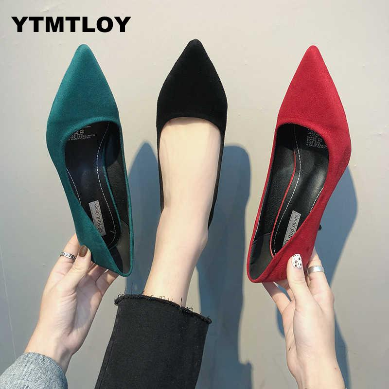 2019 Hot Summer Women Shoes Pointed Toe Pumps Suede Leisure Dress High Heels Boat Wedding Tenis Feminino  Zapatillas Mujer K6