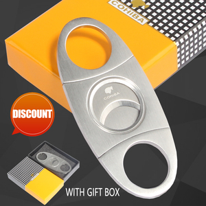 COHIBA Cigar Cutter Brand New Stainless Steel Metal Classic Cigar Cutter Guillotine With Gift Box Christmas Cigar Scissors Gift