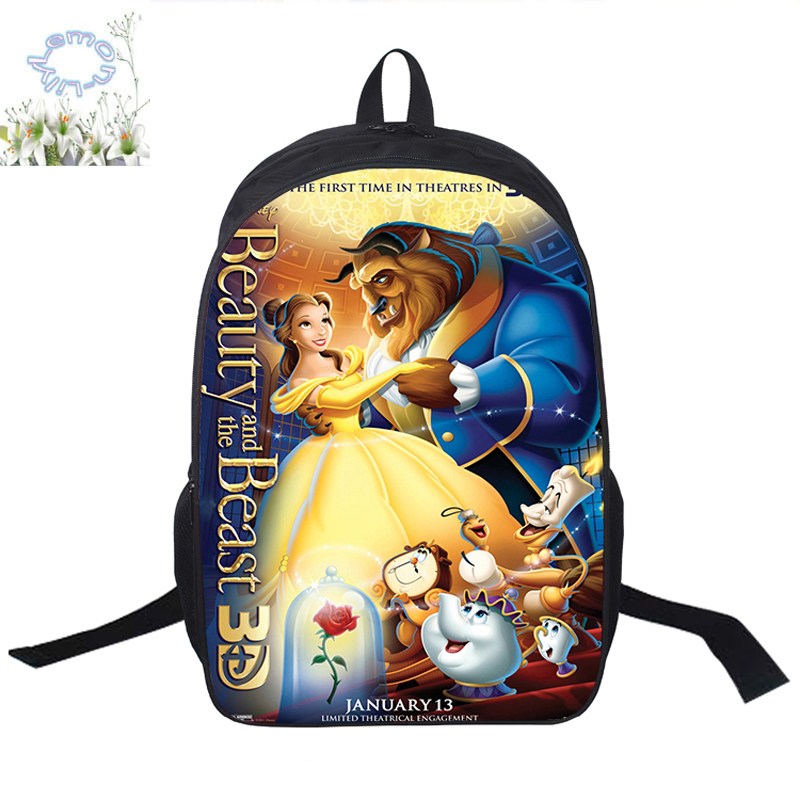 16inch Beauty And The Beast Backpack Mochilas Double Zipper Backpack Children Mochila Escolar Schoolbag Free Shipping A124