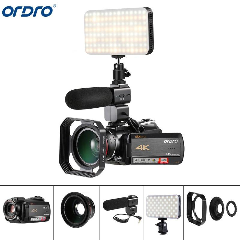 EU/US Ordro AC5 4K 12X Optical Zoom 24MP WiFi IPS Touch Screen Digital Camera+Lens Hood+Wide Angle Lens+Microphone+LED Light