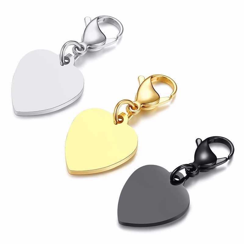 ปรับแต่งแกะสลัก PLAIN Heart Key CHAIN Anti Allergy สแตนเลสพวงกุญแจกุ้งก้ามกราม Clasp