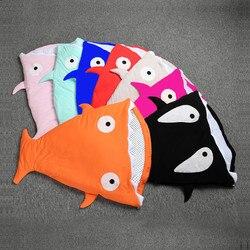 9 цветов, детский спальный мешок, Мягкое хлопковое плотное одеяло, зимние милые Мультяшные акулы, спальные мешки для новорожденных, детей, по...