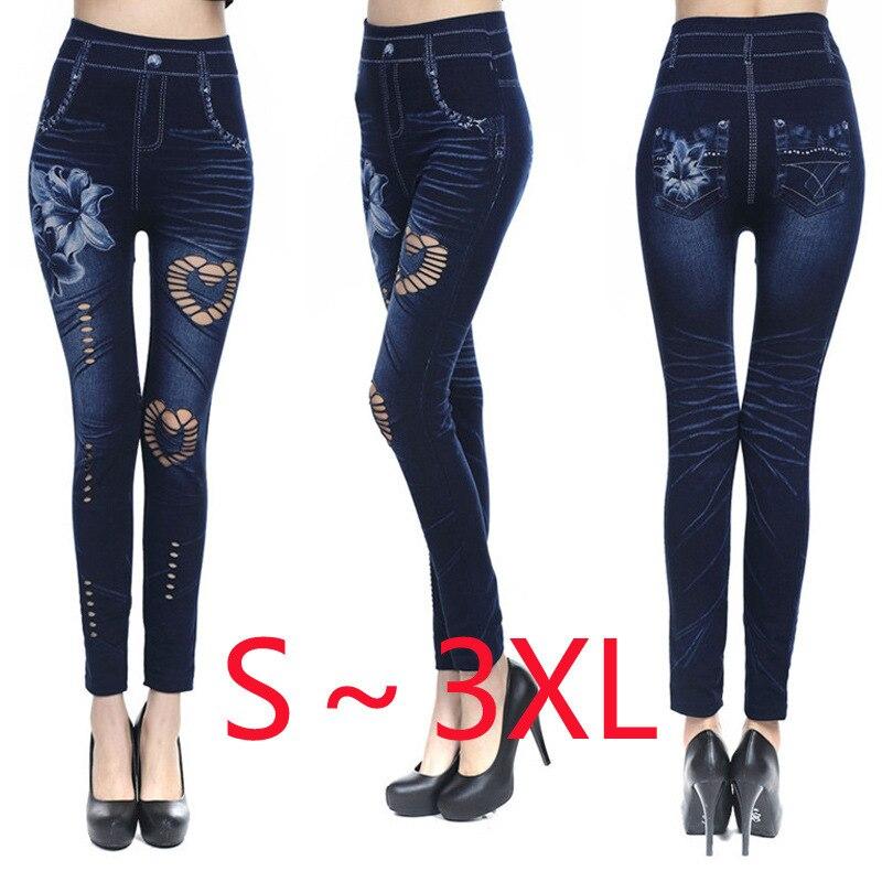 Fashion Slim Women Leggings Faux Denim Jeans Leggings Sexy Printing Casual Women Clothing Pencil Pants