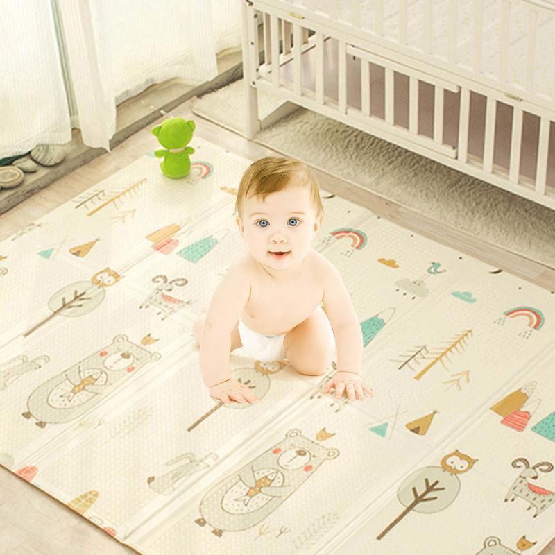 Infantile brillant enfants tapis de jeu pliant Puzzle tapis de jeu tapis de jeu pour les nourrissons 200*150*1 cm mousse ramper tapis Pack et jouer matelas - 2