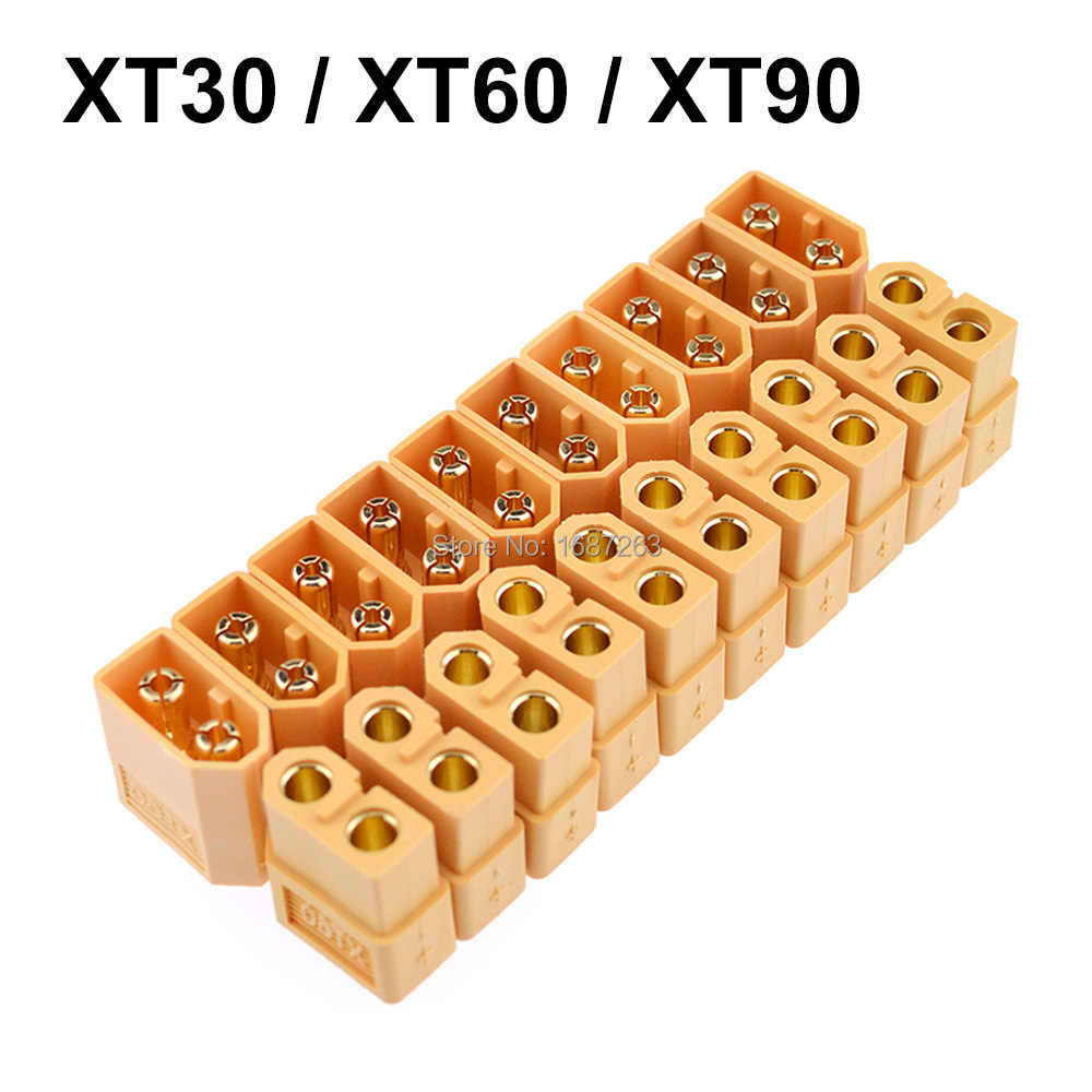 10 Pairs XT30 XT30U XT60 XT60H XT90 Yellow Battery Connector Set Male Female Gold Plated Banana Plug for RC Battery Parts