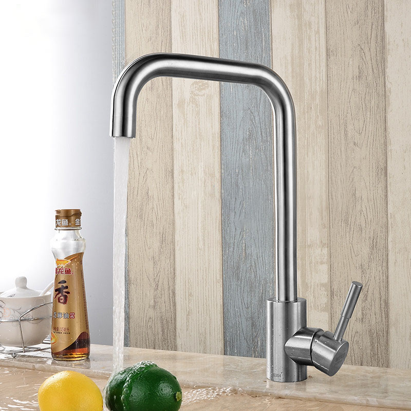 KC-303 Stainless Kitchen Sink Faucet Single Handle Rotation Spout Deck Cold And Hot Water Swivels Spout 304 Stainless Steel