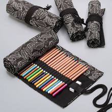 Hot Canvas Strap Envoltório Roll up Pen Pencil Case Cosmetic Bag Bolsa De Armazenamento Presente(China)
