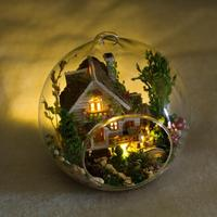 Wooden Handmade Model Gift Toy DIY Mini Forest Home, Window Showcase House Glass Yes Ball 15 35 Years Old Lodge
