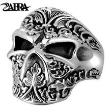 ZABRA 100% prawdziwe 925 srebro cukrowa czaszka pierścień mężczyźni regulowane ręcznie robione pierścionki dla mężczyzn Punk Rock gotycka biżuteria
