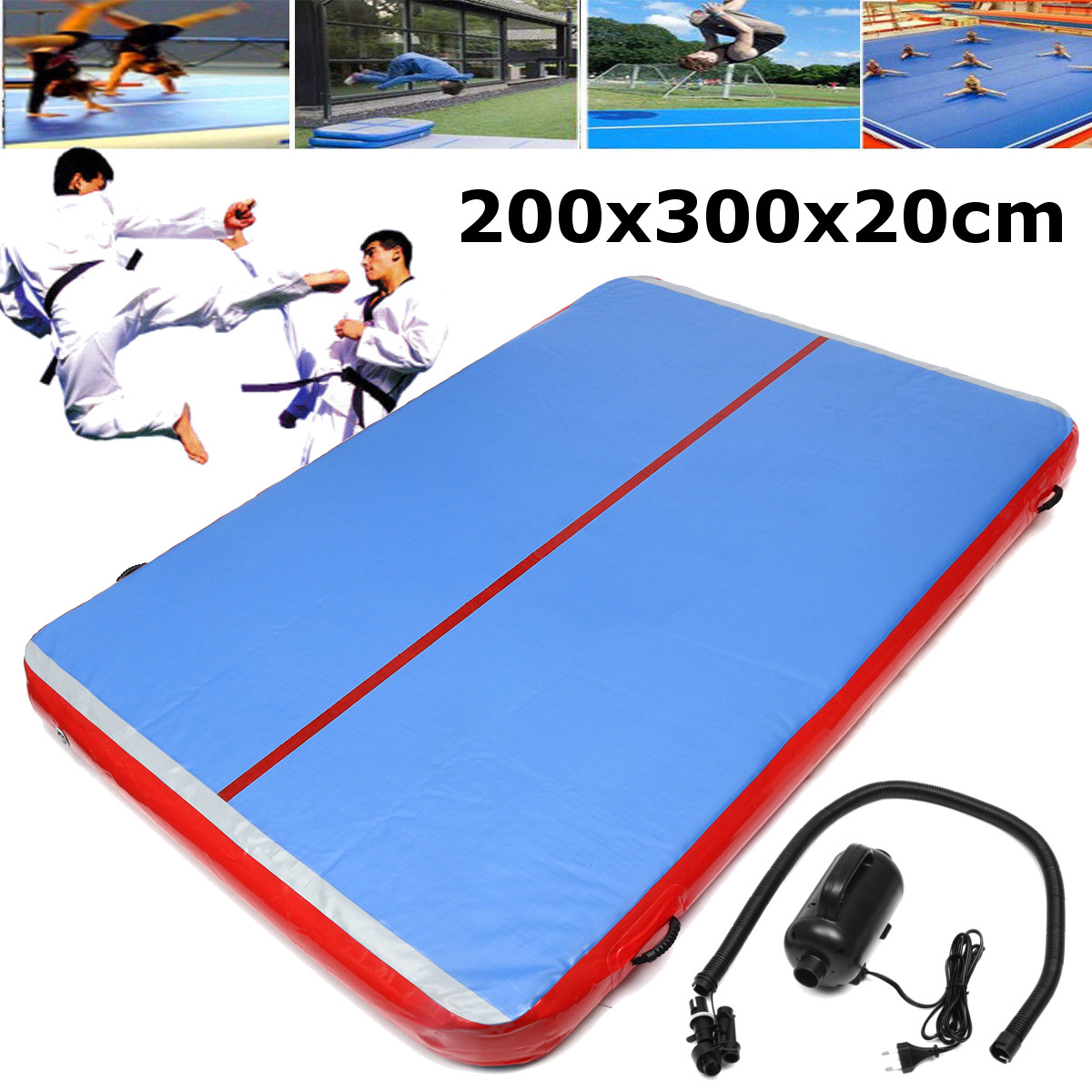 200x300x20 cm matelas de gymnastique gonflable Gym dégringolade Trampoline piste d'air sol culbutant tapis de piste d'air pour adultes ou enfants
