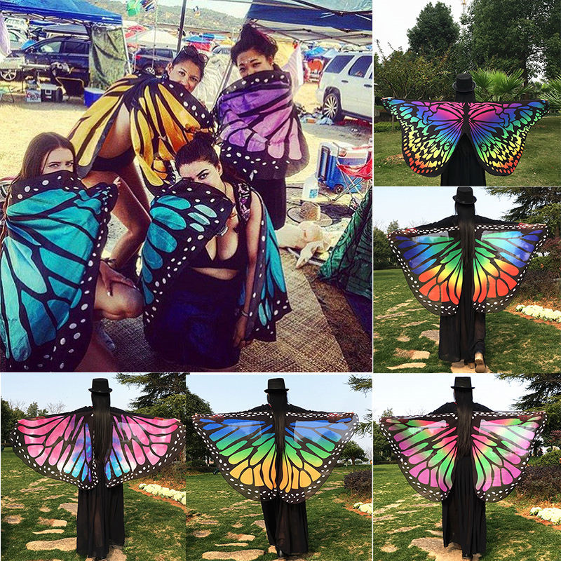 13 Colors Women Colorful Soft Fabric Butterfly Wings Cape Peacock Shawl Wrap Fairy Ladies Nymph Pixie Costume Accessory Gifts