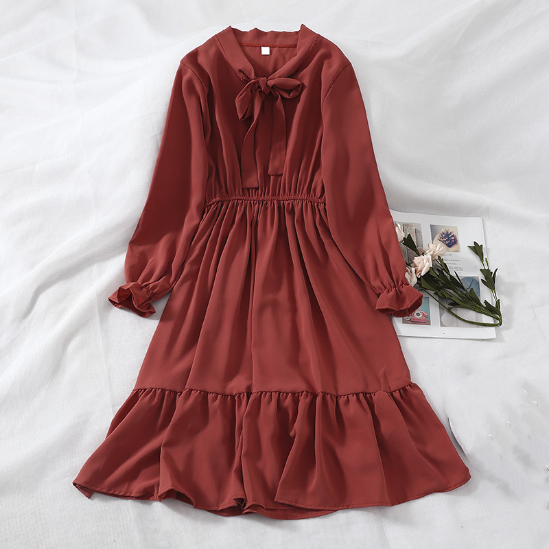 2019 Korean Women Bow A-Line Dress Female Butterfly Sleeve V-Neck Party Dress Ladies Lace Elegant Slim Mid-Calf Dresses Vestidos