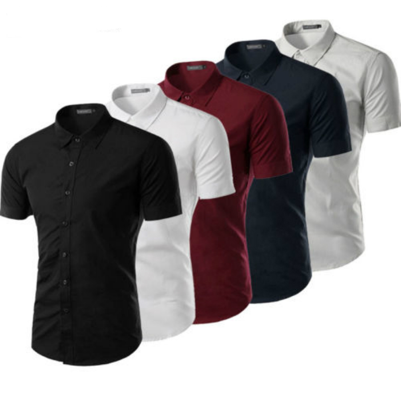 Luxury Mens Button Casual Shirts Slim Fit Short Sleeve Dress Shirt Tops
